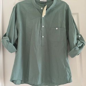 NWT Two- Sidesd women's 3/4 top large hunter green